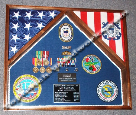 2 flag shadow box and display case