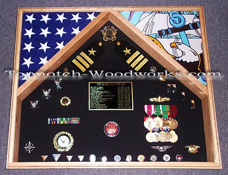 2 flag shadowbox U.S. Navy
