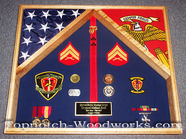 Marine Corps 2 flag shadow box