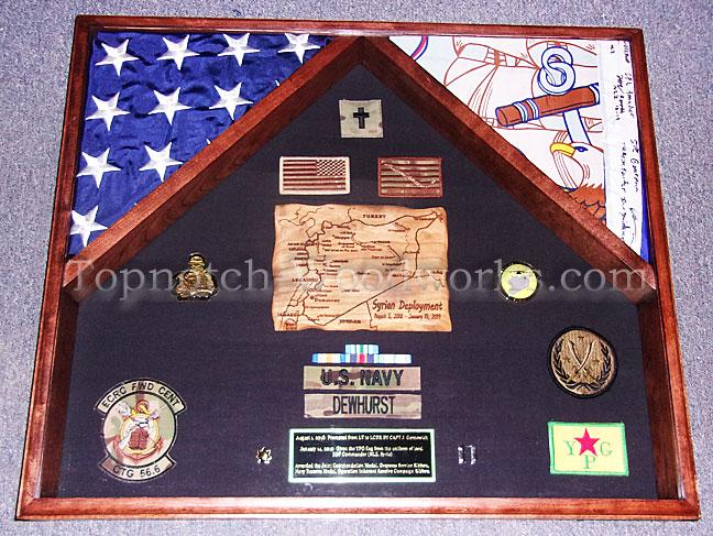 Navy Military 2 Flag Shadow box