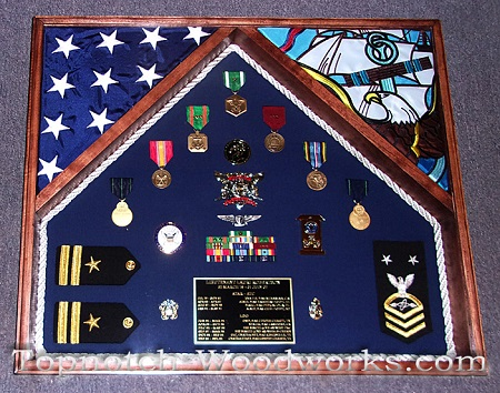 Navy military 2 flag shadow box
