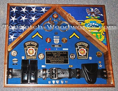 PA State trooper 2 flag shadow box