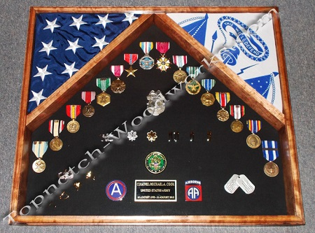 Two flag shadow box and display case