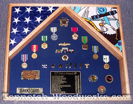 U.S. Navy 2 flag shadow box