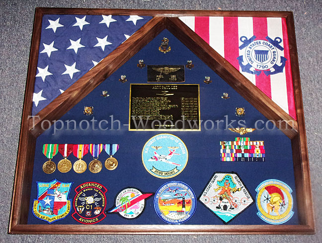 US Coast Guard cherry wood Shadow box
