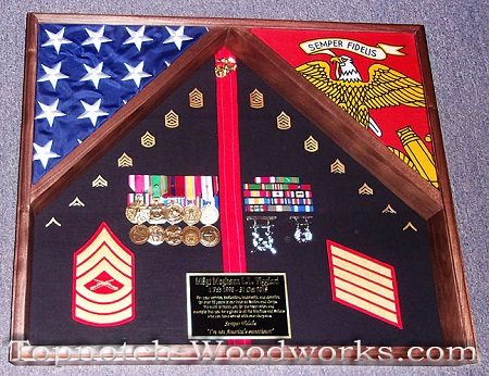 US Marines 2 flag shadow box