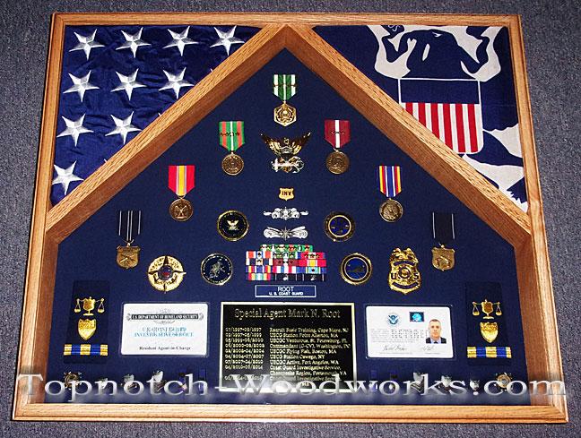 USMC 2 flag shadow box