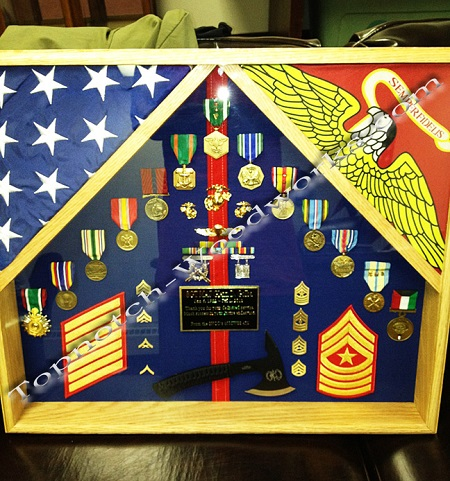USMC 2 flag shadow box and flag display case