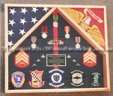 USMC 2 flag shadow box