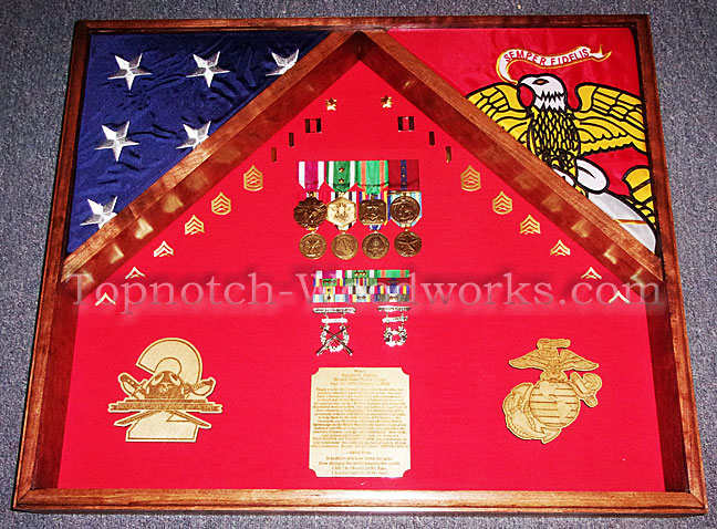 USMC and ROTC military shadow box
