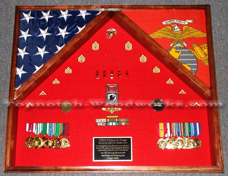 USMC shadow box  and flag display case 25