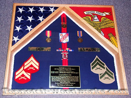USMC uniform shadow box with flags