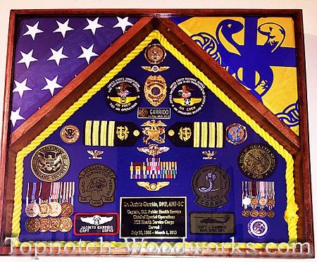 USPHS 2 flag shadow box