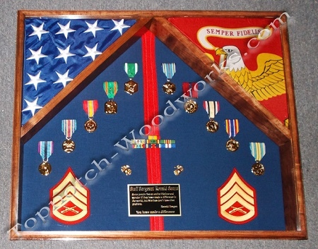 usmc double flag shadow box