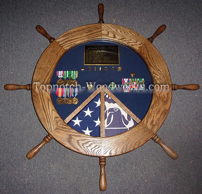 2 Flag Military shadow box for USCG