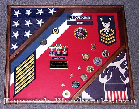 2 flag military shadow box USCG