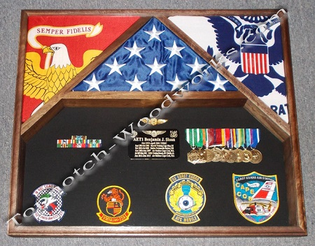 3 Flag shadow box usmc and uscg
