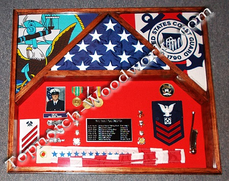 3 Flag shadow box  with pennent