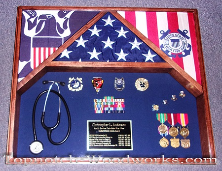 3 flag Military shadow box USMC