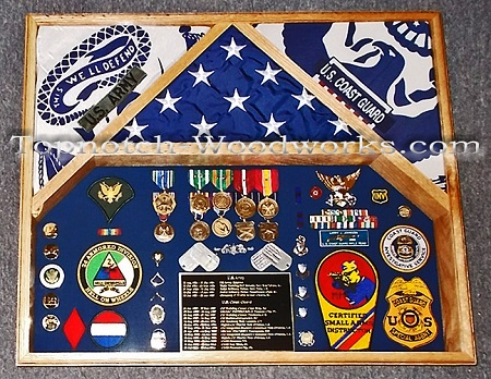 3 flag US Army Shadow box