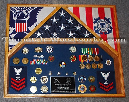 3 flag display case for coast guard