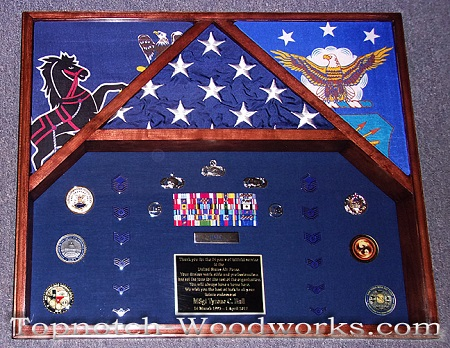 3 flag military shadow box USAF