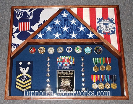 3 flag shadow box  for USCG