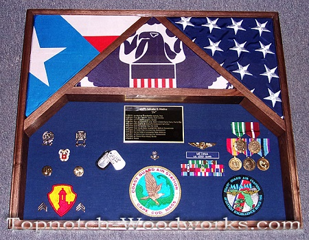 3 flag shadow box puerto rico flag