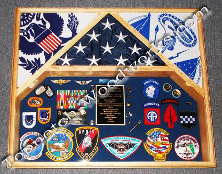 3 flag shadow box red oak