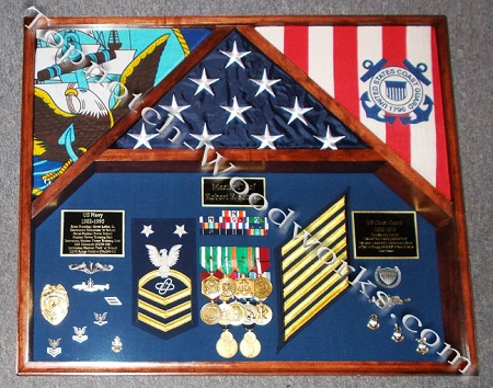 3 flag shadowbox for navy and coast guard