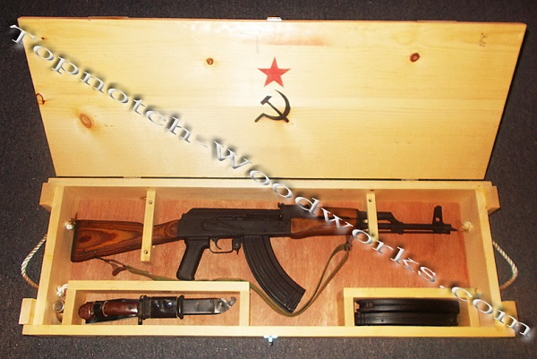 AK47 wooden shipping crate open