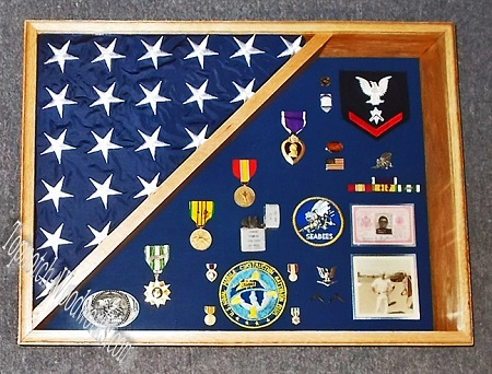 Burial flag and shadow box for casket flag