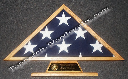 Burial flag case and engraving