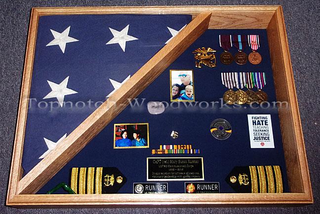 Burial flag case for military memrobilia