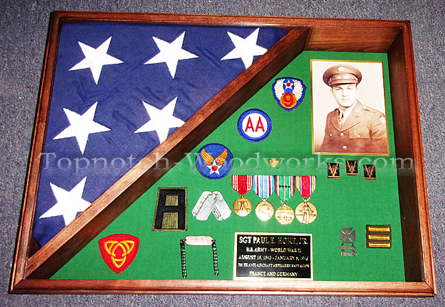 Burial flag case with medals