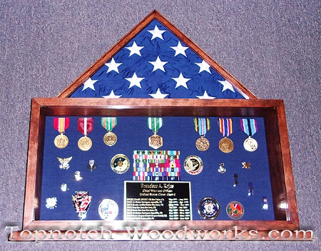 Cherry wood military shadow box