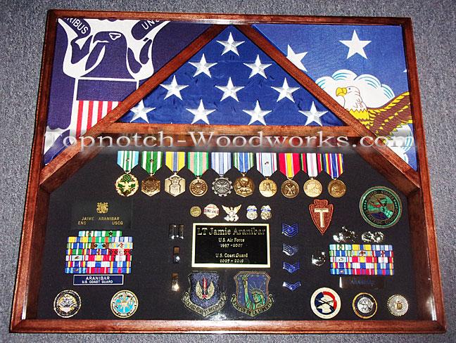 Coast Guard and Air Force military shadow box