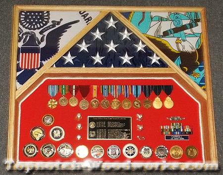 Coast Guard shadow box and 3 flag display case