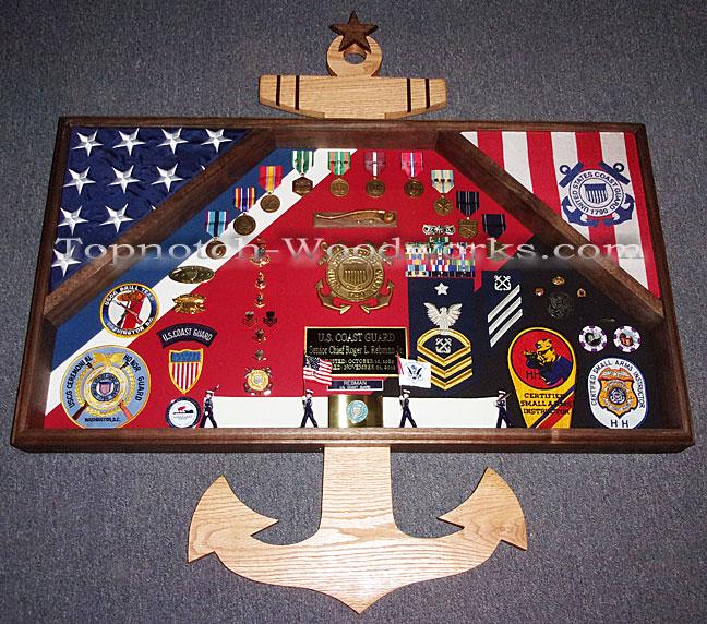 Custom 2 flag military shadow box and anchor