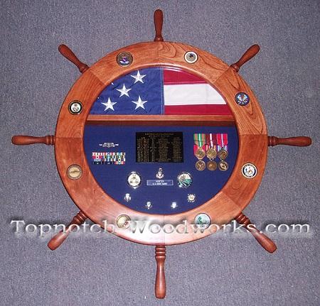 Custom Ship wheel shadow box US Navy