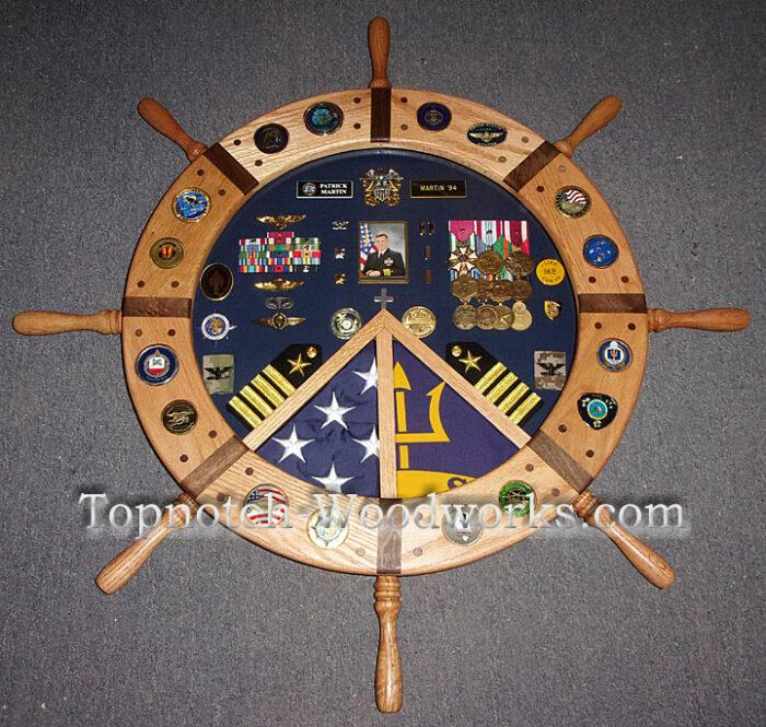 Custom Ship wheel shadow box with coin inlays
