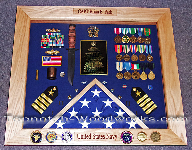Custom made Navy military shadow box
