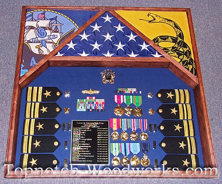Custom size 3 flag shadow box US navy
