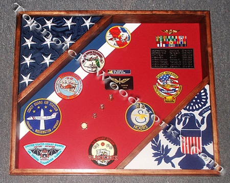Cutter shadow box  with 2 flags