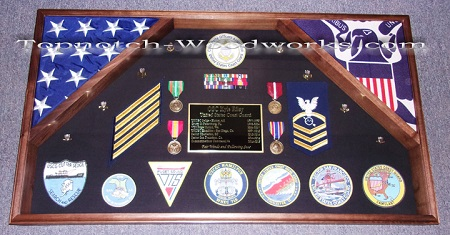 Large 2 flag military shadow box