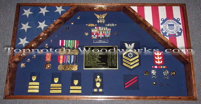 Large 2 flag military shadow box