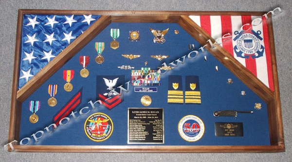 Large 2 flag shadow box for coast guard