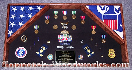 Large military retirement shadow box
