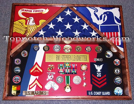 Marine corps 3 flag shadow box USMC