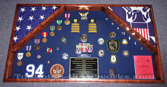 Military Shadow box with 2 flags